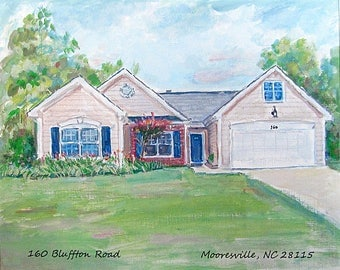 Commission a Custom water color and pastel House Portrait of Your Home  or a Cherised Building!