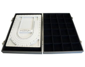 Gray Flocked Plastic Beading Board in a Case Box with 24 Compartments for Bead Storage / Bracelet Storage, 35x24x6cm