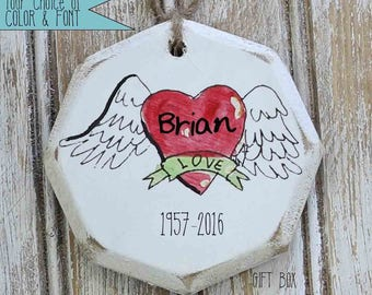 boho heart with wings custom ornaments, boho Christmas ornament,  bohemian Christmas, grieving ornament,  angel in heaven ornament