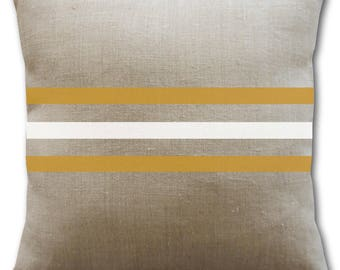 Natural, white and mustard linen cushion