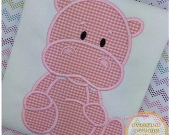 ON SALE Stuffed with Love Hippo Machine Embroidery Applique Design