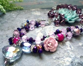 crystal necklace, flower porcelain necklace,heart necklace, quartz bead necklace,purple necklace,two string necklace, vintage inspired