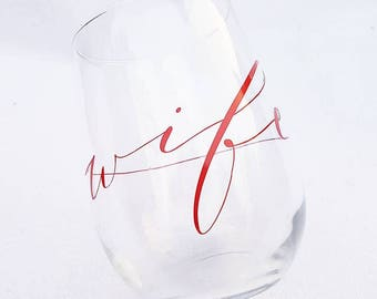 Fire Wife Stemless Wine Glass - Thin Red Line - Emergency Services Wife - Stemless Wine Glass - Fire Wife