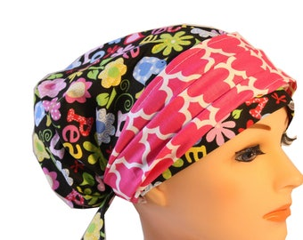 Scrub Hat Cap Chemo Bad Hair Day Hat  European BOHO Banded Pixie Tie Back Retro Peace Love Pink Band 2nd Item Ships FREE