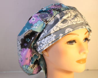 Scrub Cap Surgical Medical Chemo Chef Vet Doctor Nurse Hat Banded Bouffant Tie Back Muted Blue Purple Floral Grey Damask 2nd item ships Free