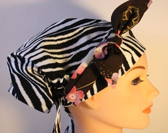 Scrub Hat Surgical Cap Chemo Bad Hair Day Hat  European BOHO Zebra Asian Influence Floral Tie 2nd Item Ships FREE
