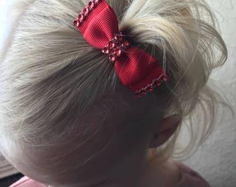 Red jeweled tuxedo hair bow