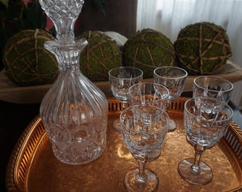 Vintage, Copper Tray with Crystal Decanter and Six Lead Crystal Cordial Glasses