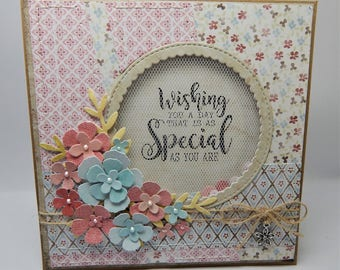 Handmade Stitched Shaker Card - Wishing you a day that is as special as you are