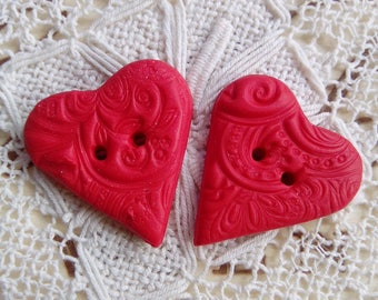 Pair of red polymer clay heart buttons, red buttons, valentines day, handmade buttons, unique buttons, small red buttons, sewing, knitting