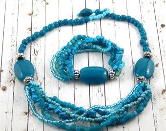 Shades Of Turquoise Necklace And Bracelet Set
