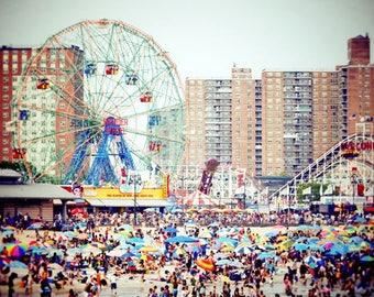 New York Coney Island Beach Photograph - Beach Day - Summer Beach - Relaxing - Joyful - Happy - Kid's Wonderland - Coney Island Beach Scene