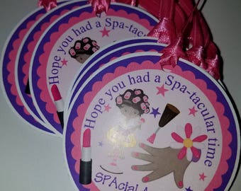 Spa Day Favor Tags, Spa Party Stickers, Spa Party Favors
