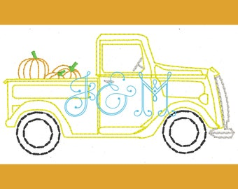 Vintage Truck with Pumpkins Vintage Style Stitch Machine Embroidery Design 5x7
