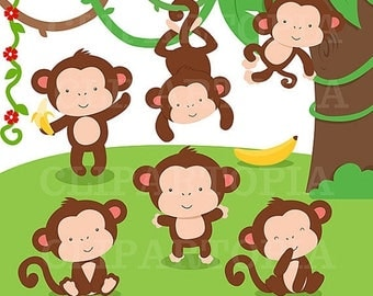 50% OFF SALE Monkey Digital Clipart / Cute Little Monkey Digital Clip art For Personal And Comercial use