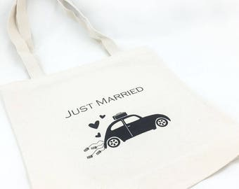 Set of 12 Just Married Buggy Tote Bags For Wedding Guests, Hotel wedding totes, wedding welcome bags, screen printed totes