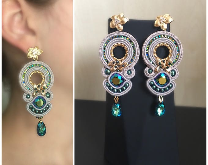 Swarovski soutache earrings- gold plated details, green blue crystals, italian soutache, swarovski pearls