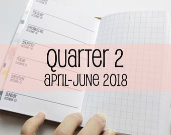 Traveler's Notebook POCKET Size Week on One Page with Grid {Q2 | April-June 2018} #600-22