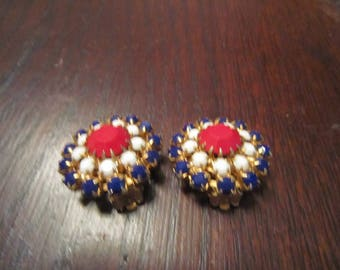 Hobe Earrings in Red, White and Blue