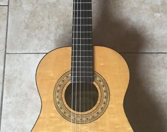 Rare Vintage Anjo #42 Acoustic Classical 6 String Guitar, Flame Maple