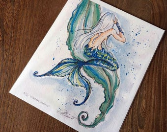 Mermaid watercolor painting, Ethereal Mermaid, Limited Edition Art Print, Watercolor mermaid illustration, Fine Art Print, Mermaid drawing,