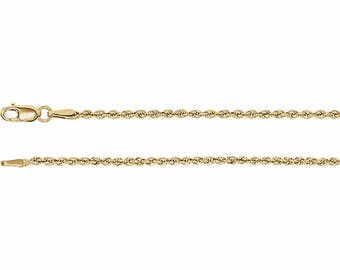 14K Yellow Gold Rope Chain, 18 Inches Long 1.85 mm  - CH956G-18