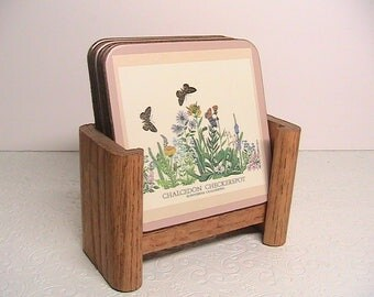 Coasters, Vintage Wildflower Coasters and Wooden Stand, Pimpernel England, Cork Coasters
