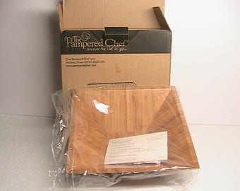 Papmered Chef Square Wooden Bowl #2249 Retired Square Bamboo Bowl NOS
