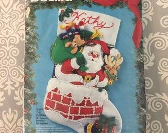 Bucilla Felt Christmas Stocking Kit -Down the Chimney