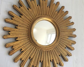 Vintage sunburst convex mirror