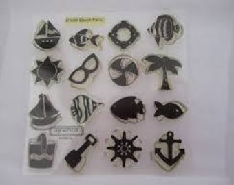 My Acrylix Stamp Set B1086 Beach Party Close To My Heart - New - Use For Scrapbooking Paper Crafting - Card Making Retired Hard To Find