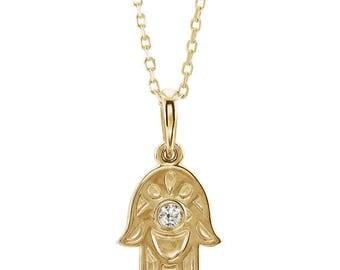 14K Diamond Hamsa Necklace