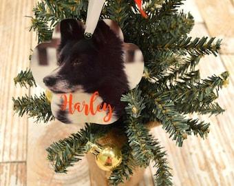 Pet Christmas Ornament, Pet Picture Ornament, Pet Memory Keepsake, Rainbow Bridge, Dog Ornament, Cat Ornament, Paw Print Keepsake