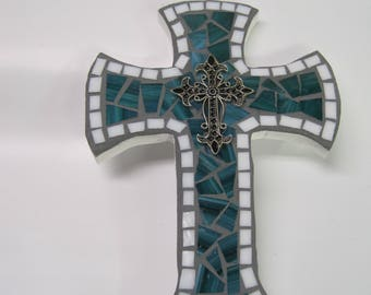 Stained Glass Mosaic Cross  in Turquoise and White,with Decorative Cross in the center