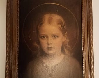 Vintage Mary Most Holy, C. Bosseron Chambers, framed print 15 X 12