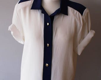 True Vintage White Navy 1980s Classic Office Blouse