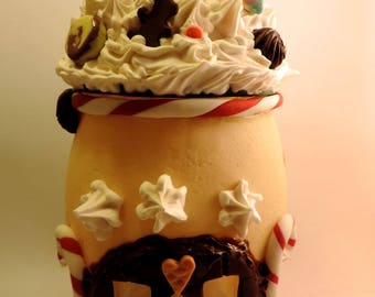 Large Christmas cottage candle of cold porcelain