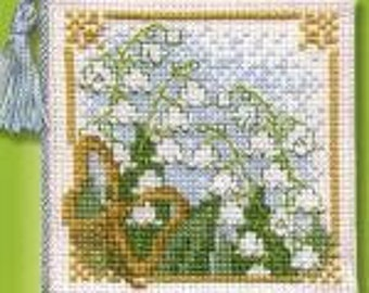 Lily of the Valley Counted Cross Stitch Needlecase Kit. 14 count Aida, stranded cotton, needle, tassle and felt. Needlecase to Stitch.