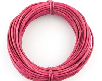 Pink Natural Dye Round Leather Cord 1.5mm 10 meters (11 yards)