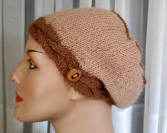 Hand-knit all-natural beige ginger brown alpaca tam   cabled band beret   alpaca hat in 2 shades brown   light weight tam   luxury alpaca