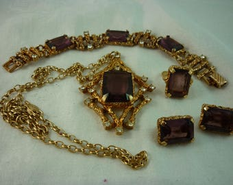 Sarah Coventry Full Suite - Twilight (Necklace, Bracelet, Earrings and Ring) - Bookpiece - Wow!