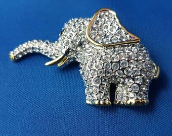 Darling Butler FAC Clear Rhinestone Elephant Pin or Brooch