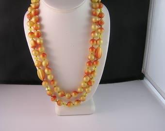 Fabulously Fall Burnished Orange and Yellow Double Strand Glass Necklace