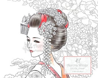 Digital Stamp - Miyabi Full Version - Authentic Japanese Maiko Geisha w/ Kimono Textile Background - Fantasy Line Art for Cards & Crafts
