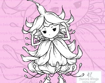 PNG Digital Stamp Instant Download - Fuchsia Sprite - digistamp - Fuschia Fairy - Fantasy Line Art for Cards & Crafts by Mitzi Sato-Wiuff