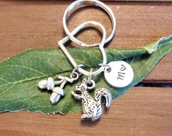 3D SQUIRREL & ACORN KEYCHAIN with initial charm on a heart - Please see all photos to order - One flat rate shipping in my shop :)