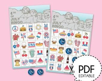 Fourth of July Bingo Game Kit–Printable PDF Download