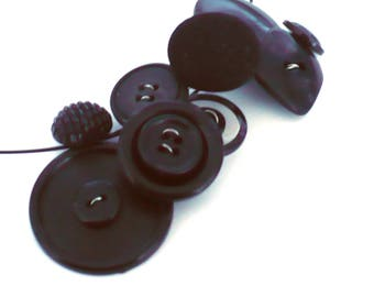Black Button Necklace Eco-design Upcycled STATEMENT Eco-design Jewelry