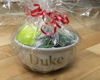 Personalized Pet cat or dog food bowl gift set with toys