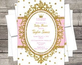 Royal Princess Baby Shower Invitation, Pink or Lavender Gold, Silver, Glitter, Crown Customized for you DIY or PRINTED